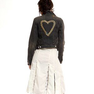 Free People│Jean Jacket Studded Hearts